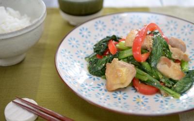 小松菜と鶏の胡麻みそ炒め