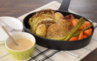 野菜とチキンのオーブン焼き 生姜みそダレ