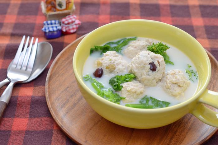 菜の花とミートボールのしっかり食べるスープ